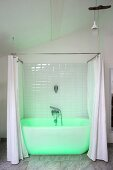 White bathtub with shower curtain bathed in green light in renovated period building