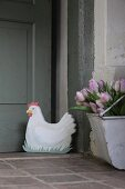 Hand-made fabric hen door stopper