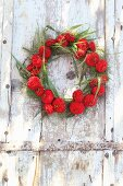Wreath of red zinnias and switchgrass hung from weathered door