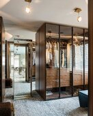 Glass wardrobes and ceiling lights
