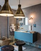 Blue washstand in bathroom
