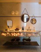 Illuminated marble wash stand