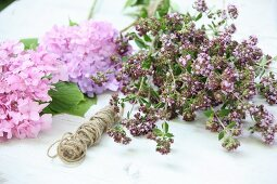 Pink hydrangea, flowering oregano and reel of twine