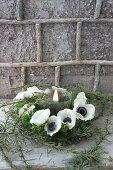 Wreath of larch twigs and white anemones around candle in front of bark-covered wall