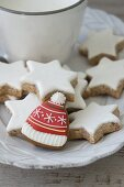 Cinnamon stars and bobble-hat-shaped iced biscuit