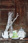 Breakfast set and crockery painted with snowdrops