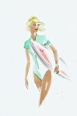 Young woman carrying surfboard
