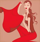 Beautiful woman holding red cape posing as Taurus