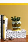 Aloe vera in retro pot against mustard-yellow wall