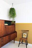 Hängepflanze über Retroschrank, Wand mit gelbem Sockel