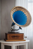 Old gramophone with blue and gold horn
