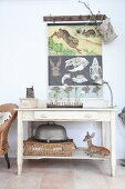 Poster with biological illustrations above stuffed animal on console table