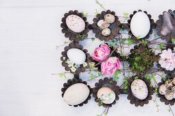 Arrangement of various eggs, twigs and flowers in vintage muffin cases on table