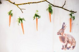 An Ast aufgehängte Karotten mit Karottengrün neben aufgedrucktem Hasenmotiv