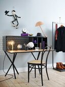 Desk, bentwood chair, men's clothing and purple accents