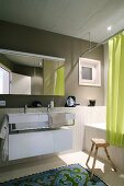 Modern bathroom with accents of colour
