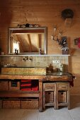 Rustic bathroom with stone sink in wooden cabin
