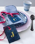 Denim gift tags with letter print