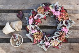 Vintage-style wreath of Rex begonia leaves and hydrangea flowers