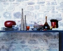 Table against stone wall