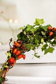 Wreath of rose hips and ivy tendrils (detail)