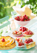 Strawberry tarts on hand-made cake stand