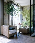 Cubist wicker furniture and large houseplants in loft apartment