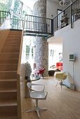 Stairs, gallery and designer furniture in architect-designed house