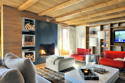 Modern furniture in living room with wooden ceiling and open fireplace