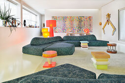 Sofa with organic form in artistic living room