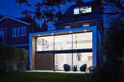 Modern extension with illuminated interior