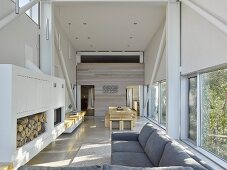 Open-plan living area in experimental beach-house