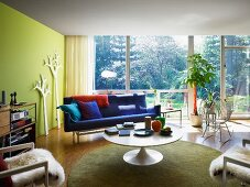Retro lounge area with glass wall