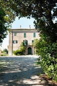 Traditional Italian country-house villa on summer day