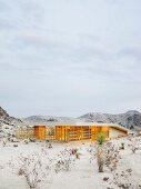 Modern architect-design house in desert landscape