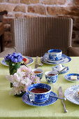 Breakfast table set with Chinese crockery