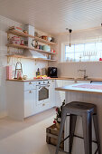 Festively decorated kitchen in Scandinavian style
