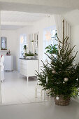 Simple Christmas tree in basket in dining room decorated entirely in white