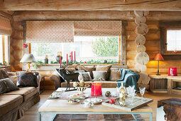 Rustic living room in log cabin