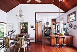 Open living room with bohemian flair and eclectic charm