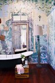 Artistically painted wood paneling in bohemian bathroom