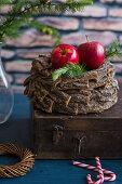 Rote Äpfel auf Rindenkranz (weihnachtlich)