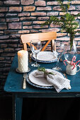 Christmas table set for two