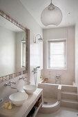 Masonry shower base and bathtub in narrow bathroom