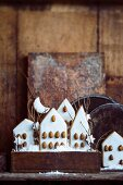 Iced gingerbread houses decorated with almonds