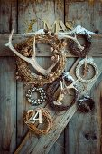 Rustic Christmas arrangement of various wreaths