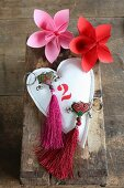 Origami flowers, fabric heart and two key chains