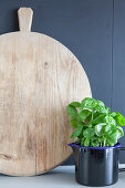 Round wooden chopping board and basil plant in enamel jug
