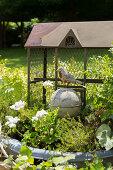Vintage Vogelfigur vor Maschendraht-Käfig im Garten