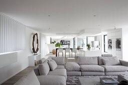 Großer offener Wohnraum im modernen Architektenhaus